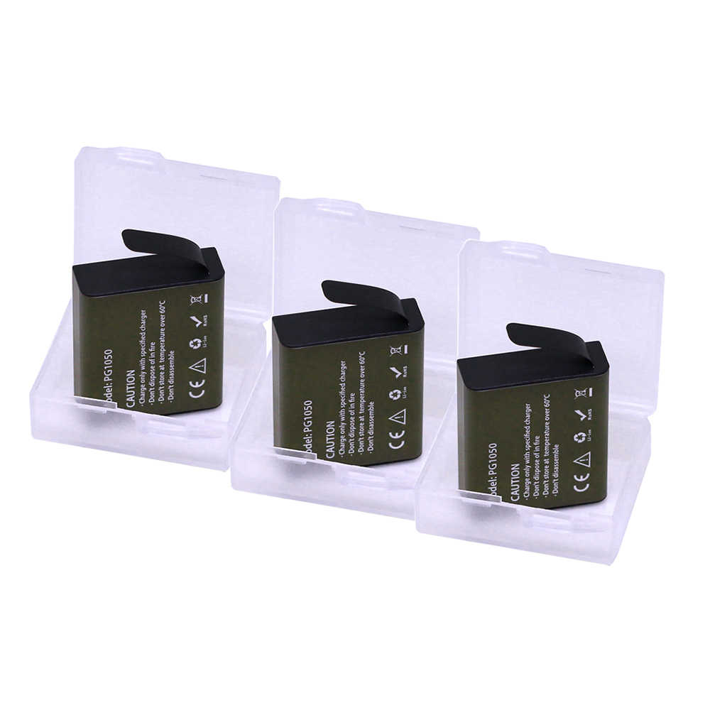 Для батарея Eken 3 шт. PG1050 Перезаряжаемые батареи для спортивной экшн-камеры SJCAM SJ4000 sj8000 sj9000 H9 H9R H8 H8R H8PRO SOOCOO C30 спортивные Камера