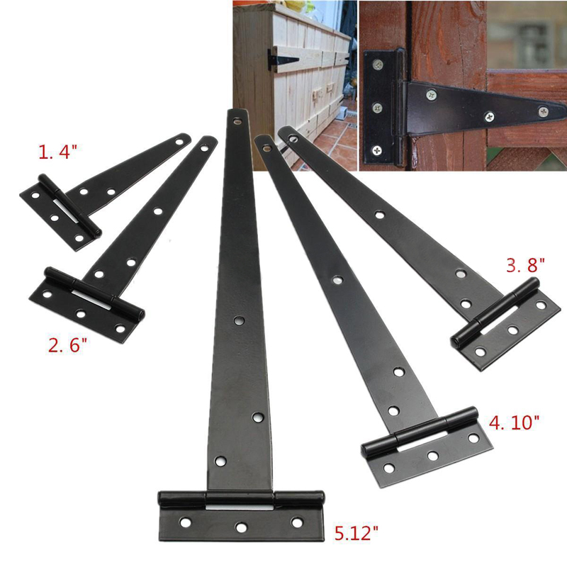 Black Iron Tee Hinge Cabinet Shed Door Garden Wooden Gate 4''/6''/8''/10''/12'' for Furniture Hinges Hardware T Hinge Mayitr 2pcs 90 degree concealed hinges cabinet cupboard furniture hinges bridge shaped door hinge with screws diy hardware tools mayitr