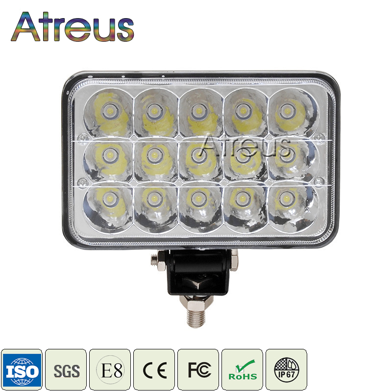 Atreus 7Inch 45W Square LED Car Work Light 15x3W 12V 24V Spot For 4WD 4x4 Offroad ATV Truck Tractor Boat Motorcycle Fog Lights