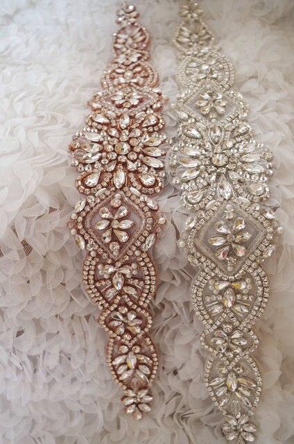 Oro rosa Strass Sash cintura, strass swarovski, cintura fusciacca da sposa,  oro rosa. Posiziona il mouse sopra per ingrandire
