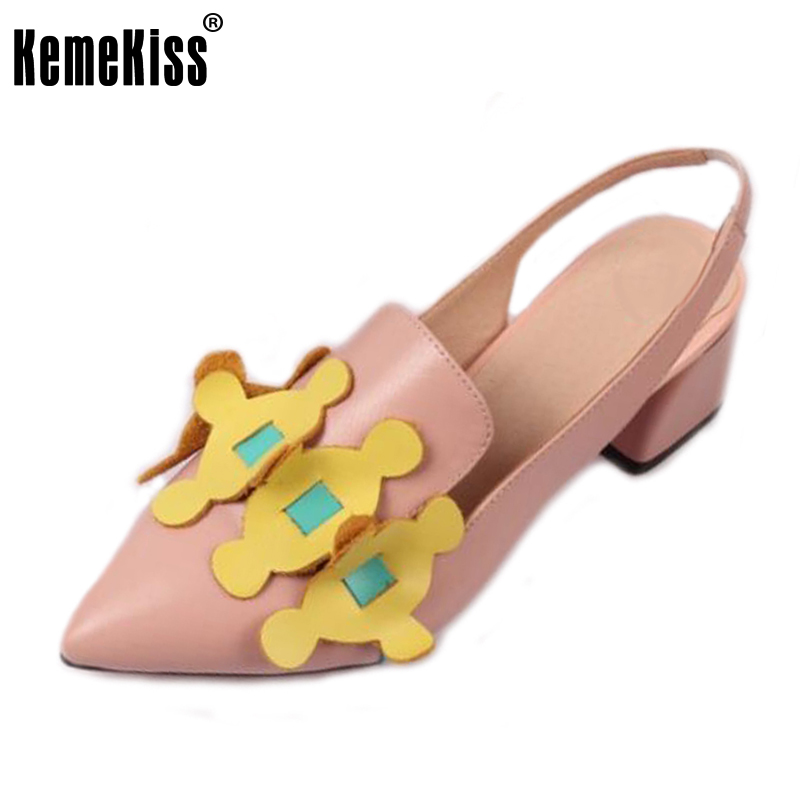 KemeKiss Lady Real Leather High Heel Sandals Bowtie Slipper Pointed Toe Summer Shoes Women Sandal Party Footwear Size 34-39 xiaying smile summer women sandals casual fashion lady square heel slip on flock shoes pointed toe cover heel lace bowtie shoes