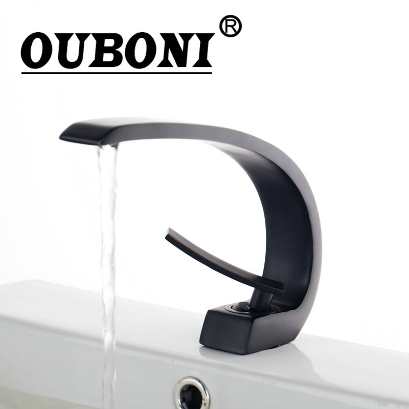 OUBONI Oil Rubbed Black Bronze Waterfall Bathroom Faucet Deck Mount Wash Basin Torneira Special Design Sink Faucets,Mixer Tap bathroom accessories black oil rubbed bronze toothbrush holders band ceramic cups wba474