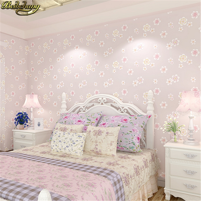 beibehang Girl pink garden flowers 3D wallpaper non-woven wall paper children's room princess bedroom bedroom romantic and warm beibehang warm pink girl room wallpaper children s room non woven three dimensional love childrens clothing shop wallpaper