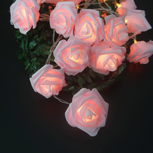 Romantic Rose Flower Garland With Led Lights,Holiday Light String For Decoration