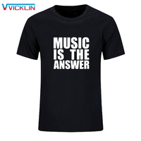 MUSIC IS THE ANSWER PRINTED BLACK Cotton Leisure Time T SHIRT NEW MENS TEE DANCE RAVE