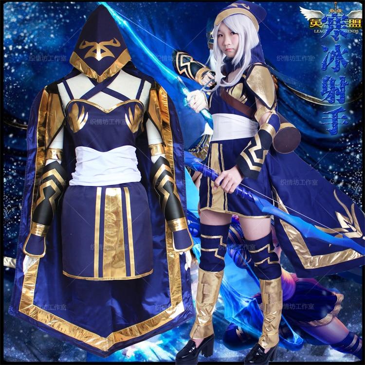 Game LOL Ashe Cosplay Costume Blue Dress Ashe Cosplay Dress Halloween Costume