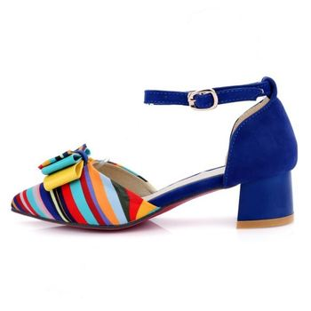 Women High Heel Sandals Mixed Color Ankle Strap