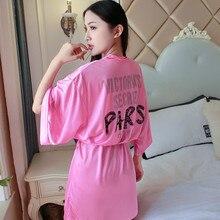 Сексуальная Печать Женская атласная пижама китайское кимоно для невесты купальные халаты повседневное вискозное мини домашнее платье свободная ночная рубашка халаты
