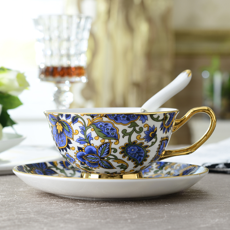Europe Luxury Bone China Coffee Cup And Saucer Set British Palace Ceramic Teacup 200ml Advanced Porcelain
