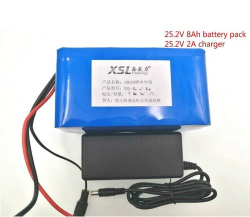 24V 8Ah 6S4P 18650 Battery li-ion battery 25.2v 8000mAh electric bicycle moped electriclithium ion battery pack+2A Charger