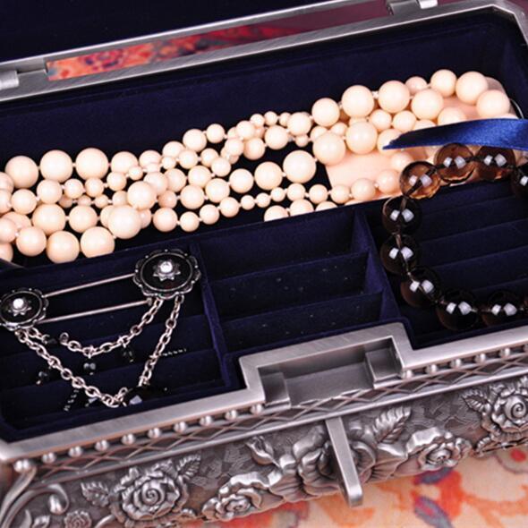 Size XL Fashion Jewelry Box Zinc alloy Metal Trinket Case Vintage Flower Carved Design Jewellery Storage