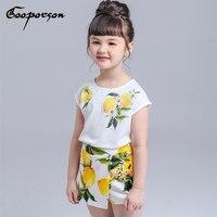 Kızlar Giyim Seti Limon Baskılı Marka Gömlek + Etek Suit Kızlar Giyim Çocuk çocuk giyim Kıyafet Bahar Yaz Giysi Set