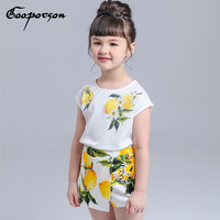 Ragazze Che Coprono L'insieme Limone Marca Stampato Shirt + Vestito di Pannello Esterno Delle Ragazze Vestiti Per Bambini abbigliamento bambini abbigliamento Primavera Estate Vestiti Set