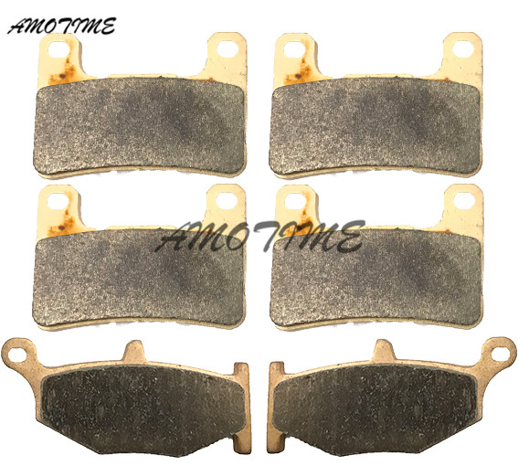 Motorcycle Parts Copper Based Sintered Motor Front & Rear Brake Pads For Suzuki GSXR1300 Hayabusa 2008-2012 09 10 11 DL1000 2014 motorcycle parts front brake pads kit for suzuki gsx1300 2013 2015 rgsxr 600 gsxr 750 l1 2011 copper based sintered