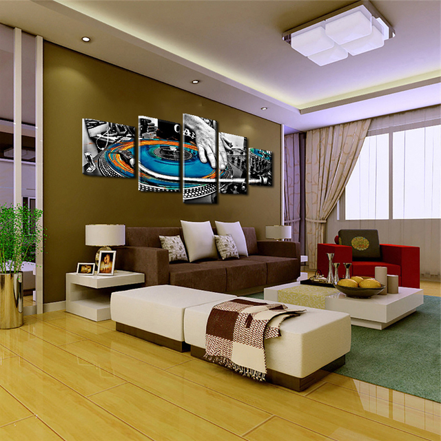 Modular Home Decor Painting Wall Art Canvas Picture 5 Panel Musical Instruments Living Room HD Modern Posters Frame Printed