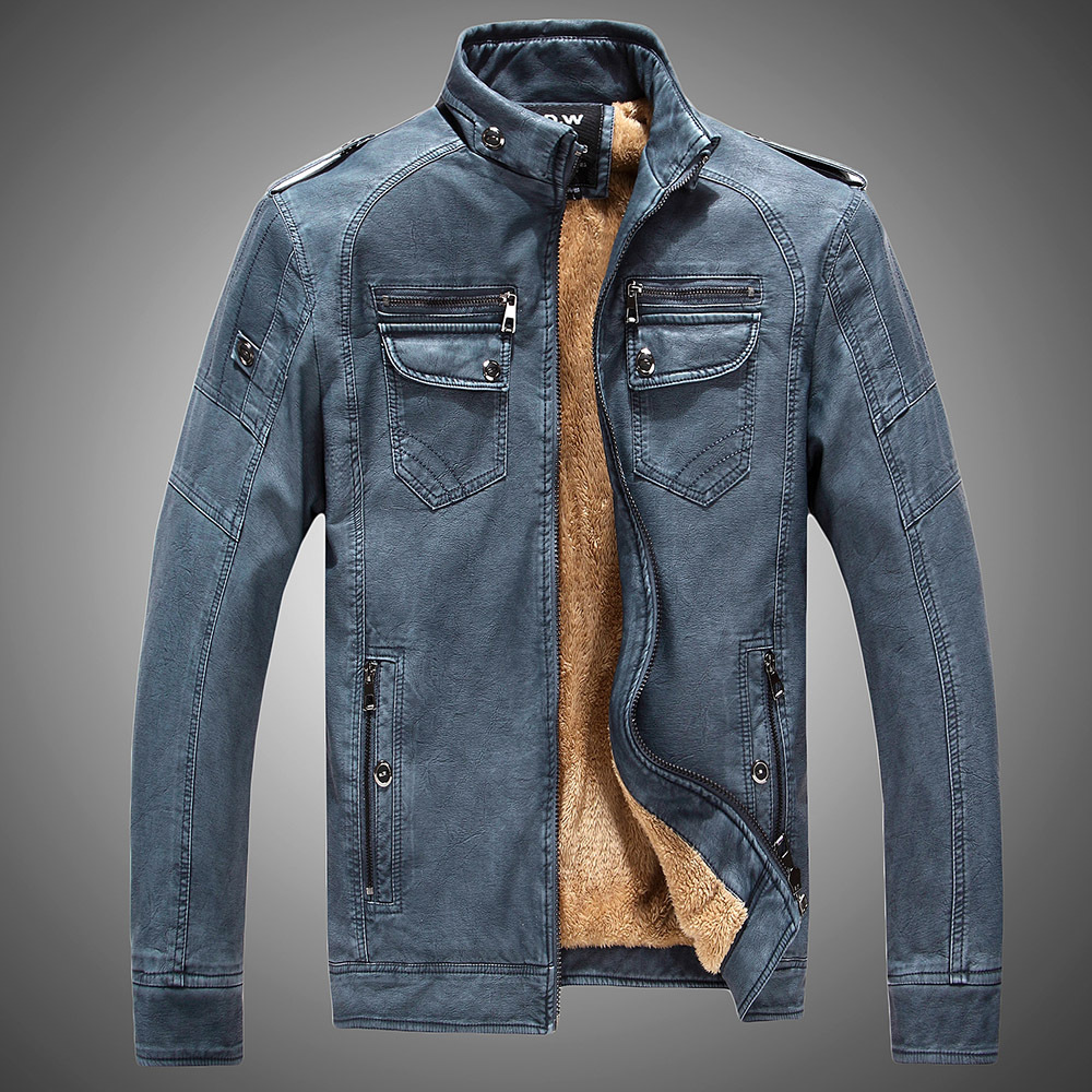 Mens Clothing 2019 Mens Coat Winter Faux PU Leather Jacket Men Long Sleeve Fur Coat Men Fleece Stand Tie Leather Jacket For Men