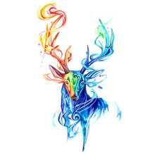 Multicolor Deer Head.40x50cm,Painting By Numbers,DIY,wall Art,Living Room Decoration,Scenery,Figure,Animal,Flower,Cartoon(China)