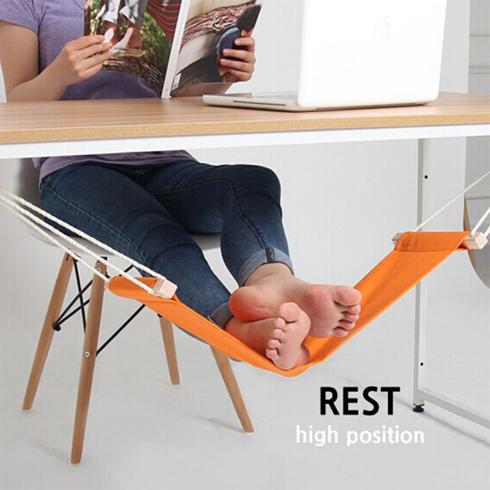 Creative Foot Desk Feet Hammock Without The Work Burden Comfortably Foot Chair High&low Position Tool Outdoor Rest Cot 65*15cm Extremely Efficient In Preserving Heat Home & Garden