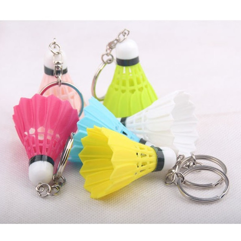 500 pieces/lot Colorful badminton keychain for sports key chain keyring Pendant key ring Plastic candy color-in Key Chains from Jewelry & Accessories    1