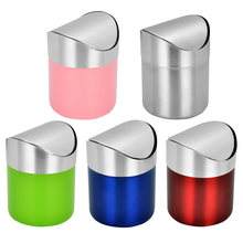 1pcs Stainless Steel Desk Trash Bin Countertop Waste Can With Swing Lid 1.5 L Mini DustBin Worktop Office Waste Rubbish Trash(China)