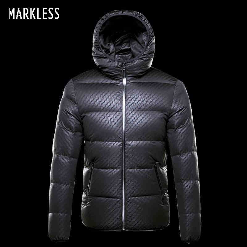 a0e42b625 US $130.0 49% OFF|Markless Winter Seamless Down Jacket Brand Clothing Thick  90% White Duck Down Windproof Warm Coat Hooded Parka for Men and Women-in  ...
