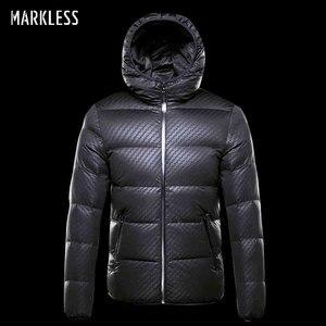 Image 2 - Markless zima bez szwu dół kurtki marki odzież gruba 90% biały puch kaczy wiatroszczelna ciepły płaszcz kurtka z kapturem dla mężczyzn i kobiet
