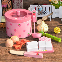 Baby toys super cute simulation vegetable hot pot pink wooden simulation toy food set birthday gift