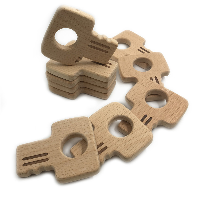New Style Beech Wood Teether Key Shape Food Grade Wooden Teether Charms Teething Necklace Natural Wood Made Pendants Baby Toys