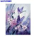 Бескаркасная фиолетовая бабочка DIY Набор для рисования по номерам Акриловая Краска на холсте уникальный подарок для домашнего декора 40x50 см...