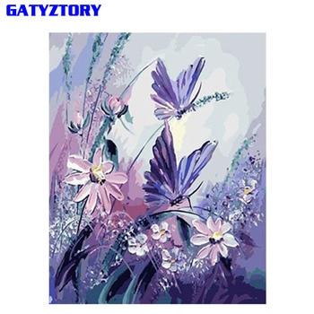 Rahmenlose Lila Schmetterling DIY Malerei Durch Zahlen Kits Acryl Malen Auf Leinwand Einzigartige Geschenk Für Wohnkultur 40x50cm Drop Verschiffen