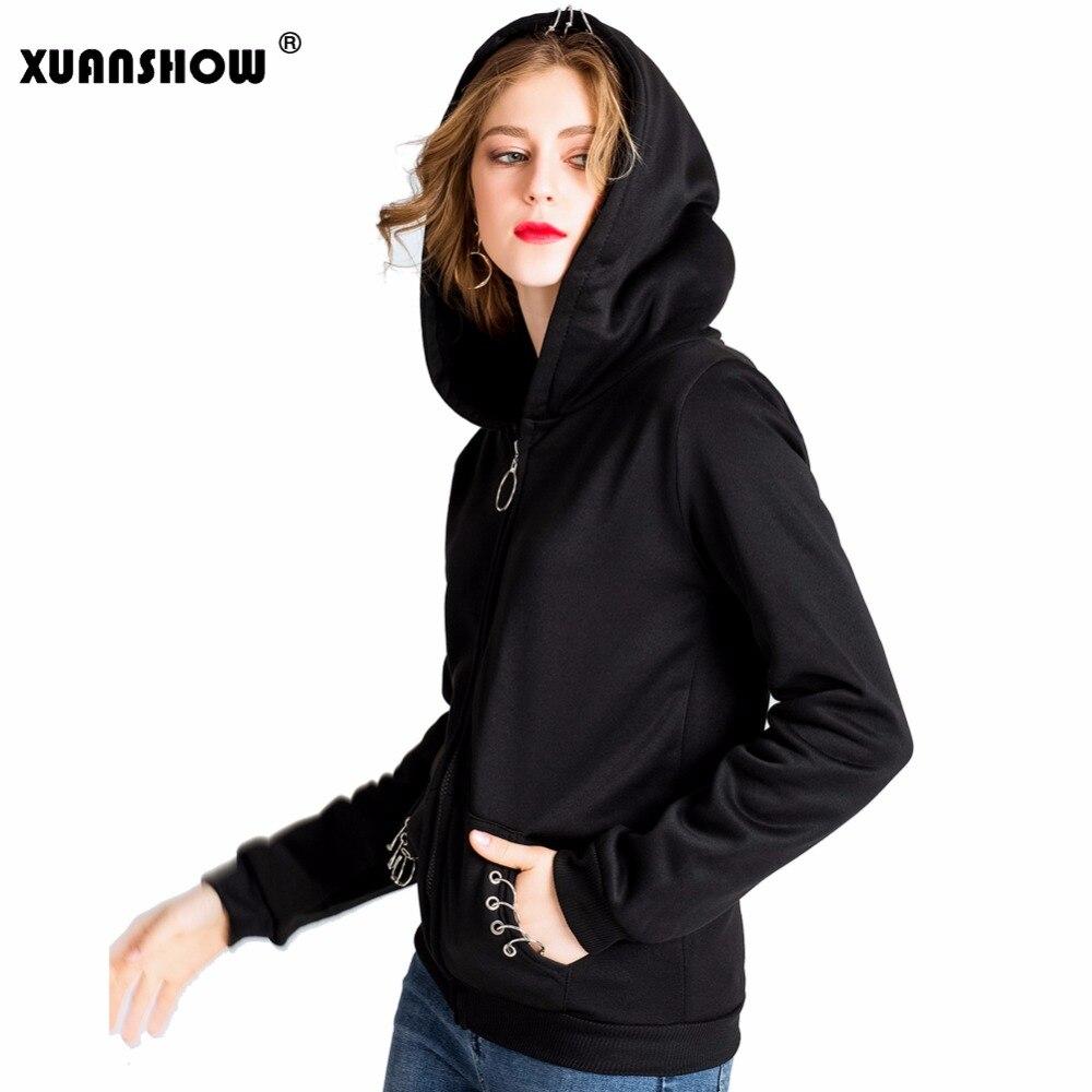 XUANSHOW 2018 mujeres sudaderas gótico Punk Iron Ring sudaderas Otoño Invierno manga larga Zip-up chaqueta negra cremallera señoras abrigo