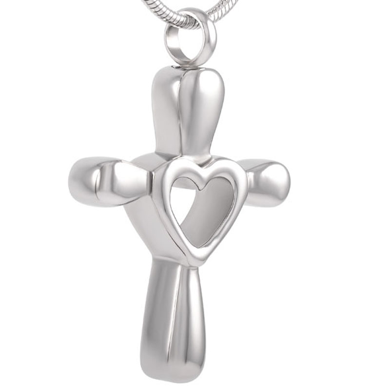 Stainless Hollow Cross Memorial Ashes Keepsake Pendant Cremation Jewelry