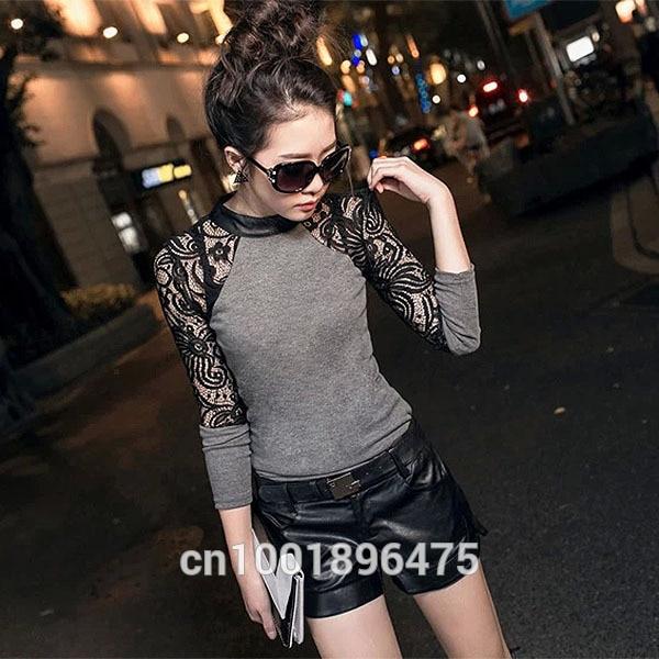 HTB1teTVbxtnkeRjSZSgq6xAuXXaN - Women Long Sleeve Lace T-shirt Slim Knitwear Leather Crew Neck Knitted Tops Black Gray