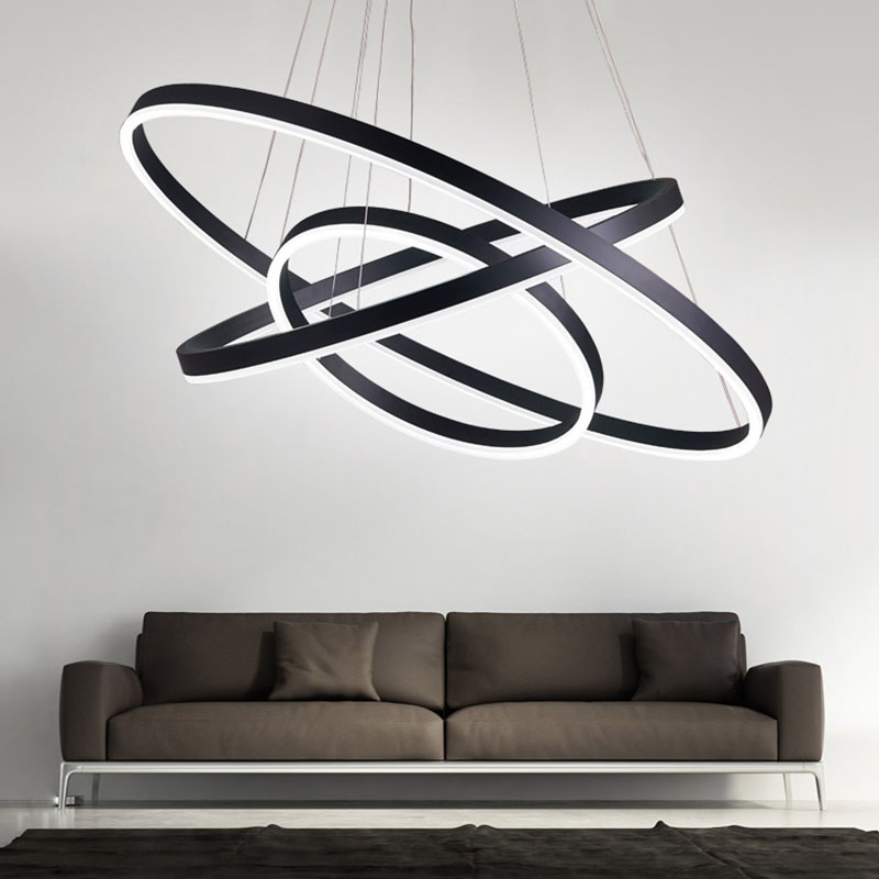 все цены на Black White Modern acrylic pendant lights for living room dining room 3/2/1 Circle Rings LED Lighting ceiling Lamp fixtures онлайн