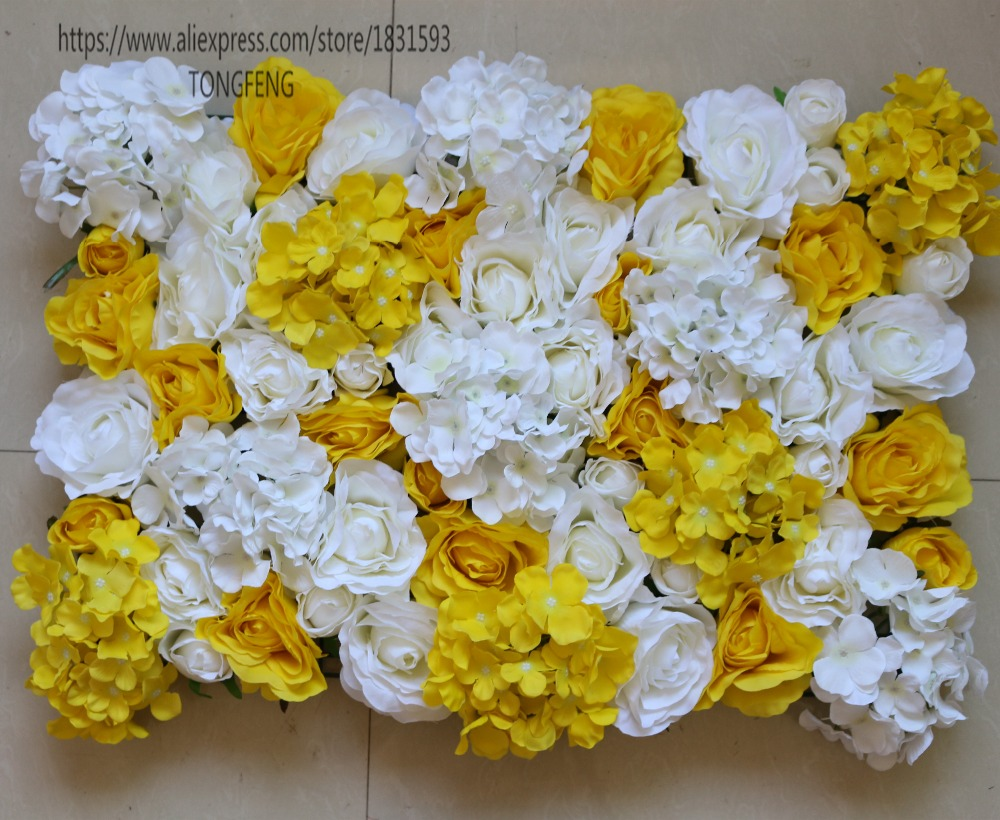NEW White and yellow 10PCS/lot Artificial silk rose hydrangea ...