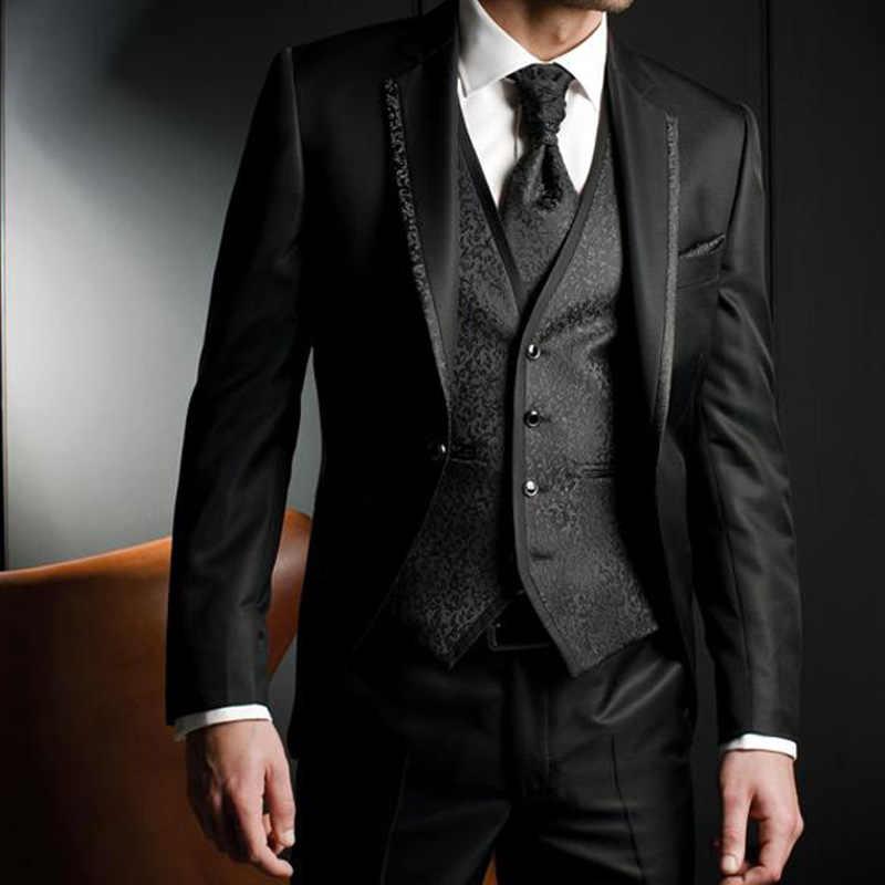 最新コートパンツのデザインスーツ新郎タキシードスーツイブニングパーティー 2019 ジャケットの男性ブレザー衣装オム