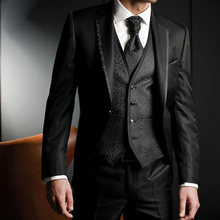 latest coat pant designs Men Suits Groom Tuxedos Wedding Suit Evening Party 2019 Jacket Pants Vest Male Blazer costume homme(China)