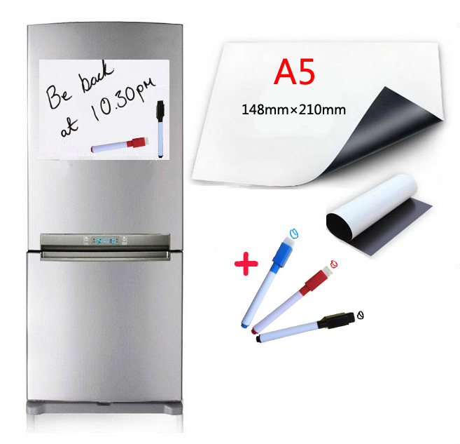 A5 Size Magnetic Whiteboard 3 Water-based Pen For Fridge Magnets Dry Wipe White Board Writing Record Board Free Adsorption