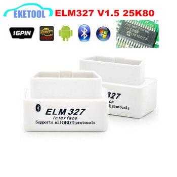 Auto Code Reader Chẩn Đoán V1.5 MINI ELM327 V1.5 Siêu 25K80 Chip 12 Ngôn Ngữ Trình Multi-Xe Ô Tô ELM 327 OBD2 CAN-BUS Tester