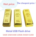 Real Capacity Gold Bar USB 3.0 Flash Memory Drive Stick Disk Key 64GB 128GB 32GB USB Flash Drive Pen drive 256GB 512 GB Gift hot