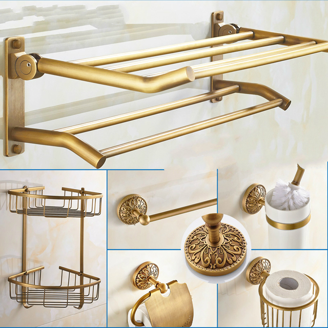 European Bathroom Hardware Sets Carved Base Accessories Solid Br Bronze Suite W94