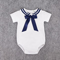 Preax Kids Navy Rompers Baby Cotton Solid Coverall Kids Summer Short-Sleeve Sailor Suit Rompers Brand New White Navy bow Rompers