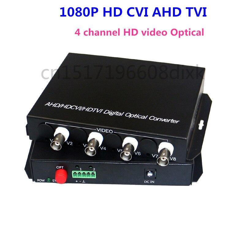 imágenes para 1080 P HD CVI TVI AHD de vídeo convertidor De Fibra óptica, 4-CH de vídeo transmisor de fibra óptica, monomodo fibra del solo 20 KM