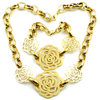 New Gold Rose Bracelets Necklace 316L Stainless Steel Jewelry Sets For Women Romantic Cute High Quality