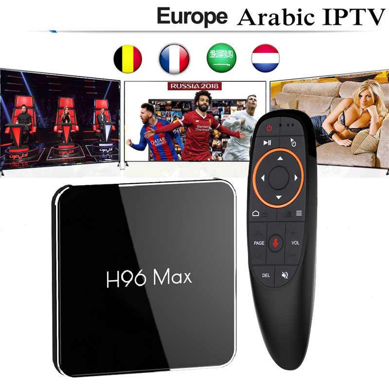 H96max Android 8,1 Smart ТВ коробка с IP ТВ подписка 3/6/12 месяцев Италия Бельгия Франция Великобритания испанско-португальский арабский взрослый спорт