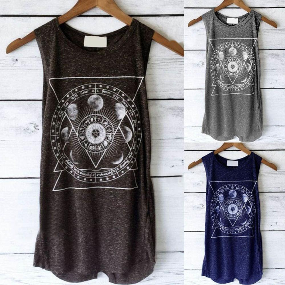 Summer   Tank     Top   Women Casual O-neck Sleeveless Vest gym   Tank     Top   Moon Flower Print Loose Tunic Sexy   Top   Women   Tops   Summer
