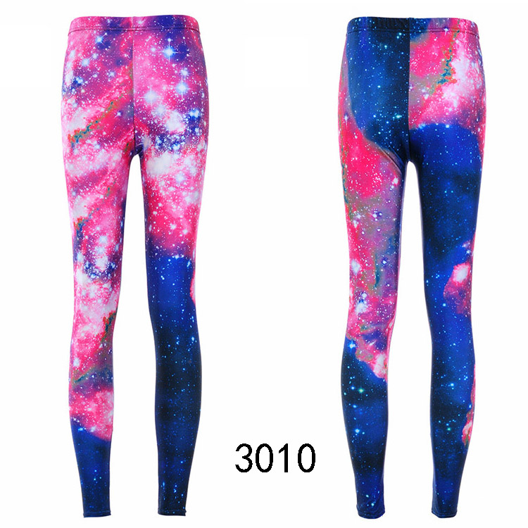 Fashion Women Leggings Galaxy Painted PINK SKY Colorful ...