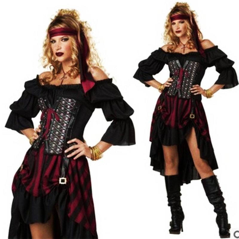 2018New Sexy Plus Szie Halloween Pirate Costume High QualitAdult Women Red Sexy Matador Pirate Captain Cosplay Costume With Hat