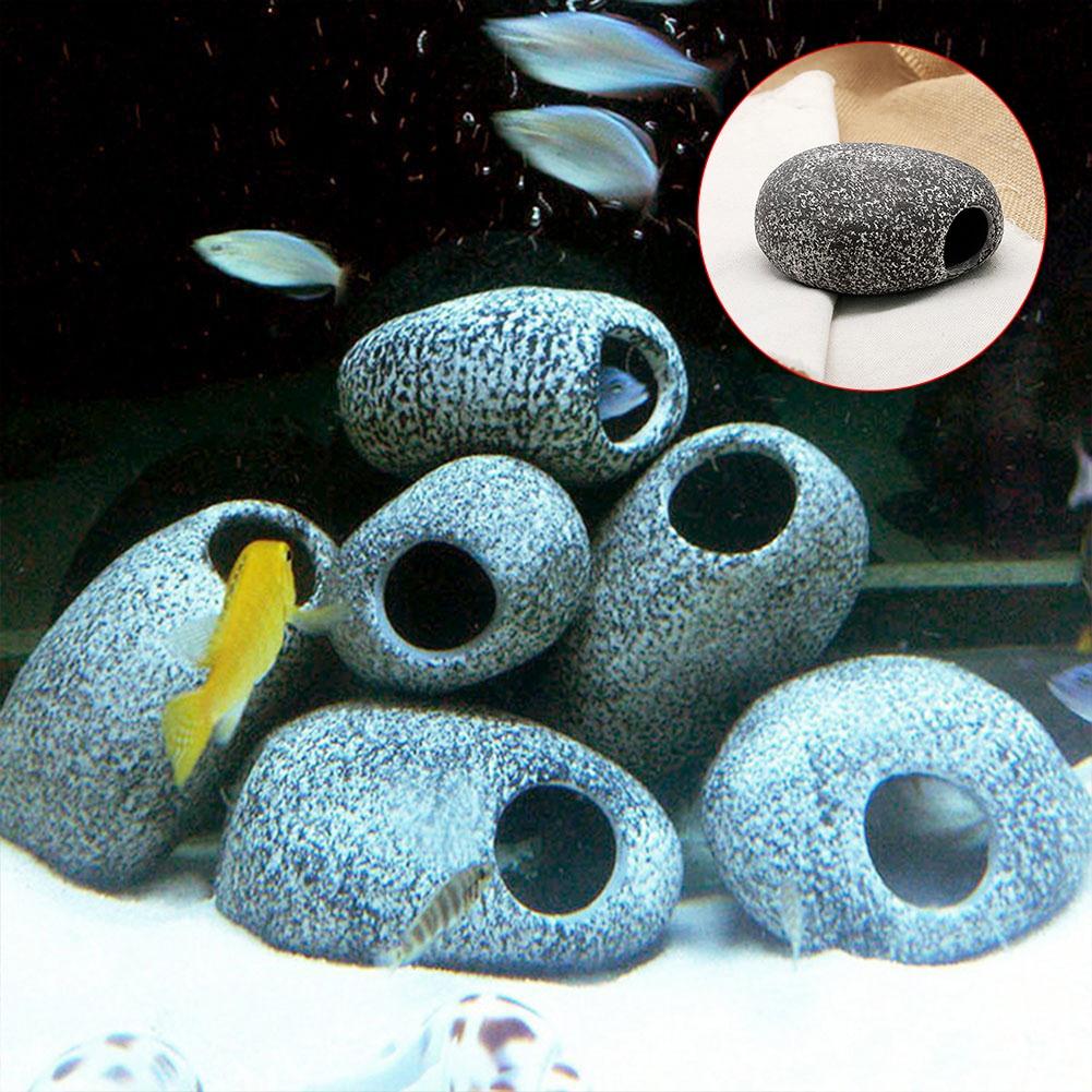 Aquarium Stone Cichlid Fish Tank Stione Ceramic Ornament Rock Shrimp Breeding Decoration Pond Yard Decor Decorative Stones Cave