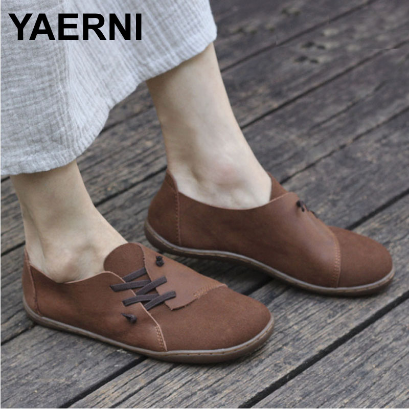 YAERNI  Womens Shoes Hand-made Slip on Ballet Flats Genuine Leather Ladies Flat Shoes Plain toe Mary Jane Flats Female Footwear ...